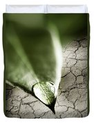 Water Drop On Green Leaf Duvet Cover by Elena Elisseeva