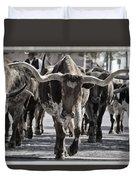 Watercolor Longhorns Duvet Cover by Joan Carroll