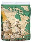 Watercolor Map 2 Duvet Cover by Debbie DeWitt