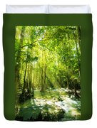 Waterfall In Rainforest Duvet Cover by Atiketta Sangasaeng