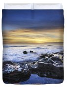 Waves At Coral Cove Beach Duvet Cover by Debra and Dave Vanderlaan
