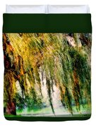 Weeping Willow Tree Painterly Monet Impressionist Dreams Duvet Cover by Carol F Austin