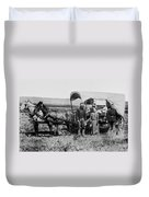 Westward Family In Covered Wagon C. 1886 Duvet Cover by Daniel Hagerman