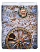 Wheel And Sun In Taromina Sicily Duvet Cover by David Smith
