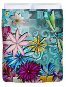 Whimsical Floral Flowers Dragonfly Art Colorful Uplifting Painting By Megan Duncanson Duvet Cover by Megan Duncanson