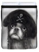Whimsical Funny French Bulldog Pirate  Duvet Cover by Svetlana Novikova