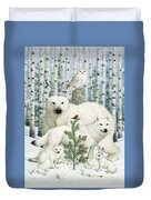 White Animals Red Bird Duvet Cover by Lynn Bywaters