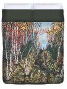 White Birch Trail Ride Duvet Cover by Jeffrey Koss