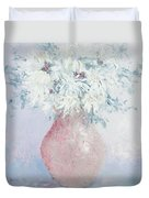 White Chrysanthemums Duvet Cover by Jan Matson