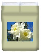 White Daffodils Flowers Art Prints Spring Duvet Cover by Baslee Troutman