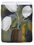 White Tulips Duvet Cover by Leana De Villiers