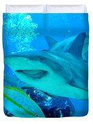 Who Said Sharks Were Mean Duvet Cover by John Malone