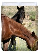 Wild Horse Mama And Her Baby Duvet Cover by Sabrina L Ryan