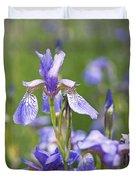Wild Irises Duvet Cover by Rona Black