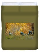 Wild Turkeys And Fall Colors Duvet Cover by Robert Bales