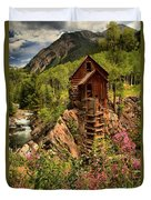 Wildflowers And Clouds Duvet Cover by Adam Jewell