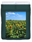 Windblown Sunflowers Duvet Cover by Robert Frederick