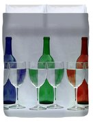 Wine Bottles And Glasses Illusion Duvet Cover by Jack Schultz