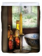 Wine - Nestled In A Corner Of A Window Sill  Duvet Cover by Mike Savad