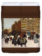 Winter In Amsterdam Duvet Cover by Georg Hendrik Breitner