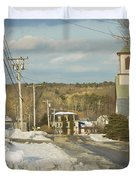 Winter In Round Pond Maine Duvet Cover by Keith Webber Jr