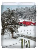 Winter Road Square Duvet Cover by Bill  Wakeley