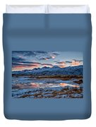 Winter Sunset Reflection Duvet Cover by Cat Connor