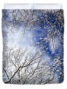 Winter trees and blue sky Duvet Cover by Elena Elisseeva