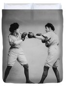 Woman Boxing Duvet Cover by Digital Reproductions