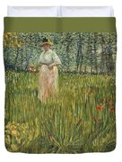 Woman In A Garden Duvet Cover by Vincent van Gogh