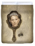Woman In Mirror Duvet Cover by Amanda Elwell