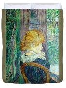 Woman Sitting In A Garden Duvet Cover by Henri de Toulouse-lautrec