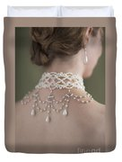 Woman Wearing A Pearl Necklace And Earring Set Duvet Cover by Lee Avison