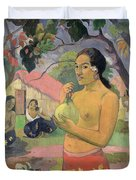 Woman With Mango Duvet Cover by Paul Gauguin
