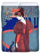 Woman With Peacocks Duvet Cover by Louis John Rhead