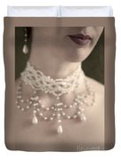 Woman With Pearl Choker Necklace Duvet Cover by Lee Avison