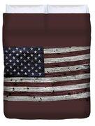 Wooden Textured Usa Flag3 Duvet Cover by John Stephens