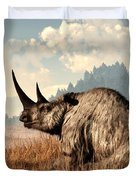 Woolly Rhino And A Marmot Duvet Cover by Daniel Eskridge