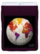 World Map - Rainbow Bliss Baseball Square Duvet Cover by Andee Design