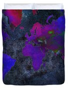 World Map - Purple Flip The Dark Night - Abstract - Digital Painting 2 Duvet Cover by Andee Design