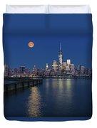 World Trade Center Super Moon Duvet Cover by Susan Candelario