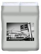Wrigley Field And Wrigleyville Signs In Black And White Duvet Cover by Paul Velgos