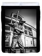 Wrigley Field Ernie Banks Statue In Black And White Duvet Cover by Paul Velgos