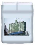 Wrigley Field Scoreboard Sign Duvet Cover by Paul Velgos