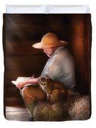 Writer - Writing In My Journal Duvet Cover by Mike Savad