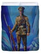 Ww 1 Soldier Duvet Cover by Derrick Higgins