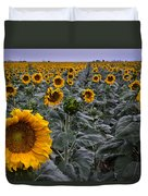 Yellow Sunflower Field Duvet Cover by Dave Dilli