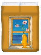 Yellow Vase With Sea View Duvet Cover by Pamela Allegretto