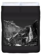 Yosemite Falls In Black And White Duvet Cover by Bill Gallagher