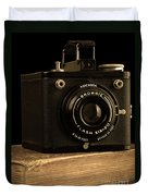 You Push The Button We Do The Rest Kodak Brownie Vintage Camera Duvet Cover by Edward Fielding